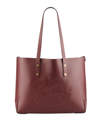Small Leather Shoulder Tote Bag with Crest