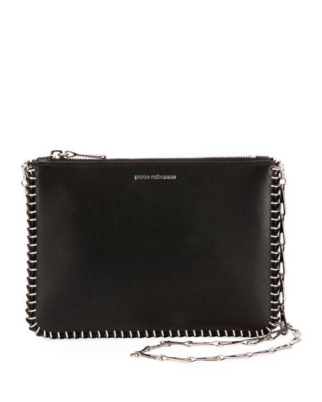 PACO RABANNE Calfskin Leather Crossbody Bag - Black