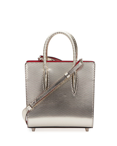 Louboutin Paloma Small Cubiste Metallic Leather Tote Bag