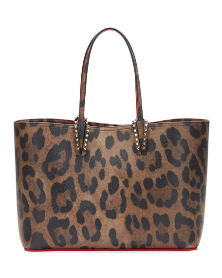 Cabata Empire Leopard-Print Leather Tote Bag in Brown