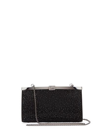 Palmette Small Crystal Suede Clutch Bag in Black