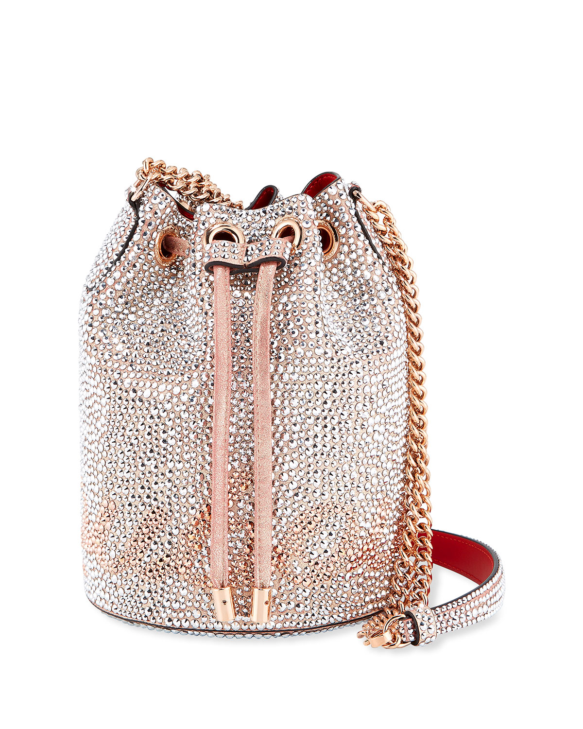 6dd49c598638 Christian Louboutin Marie Jane Crystal-Beaded Suede Bucket Bag ...