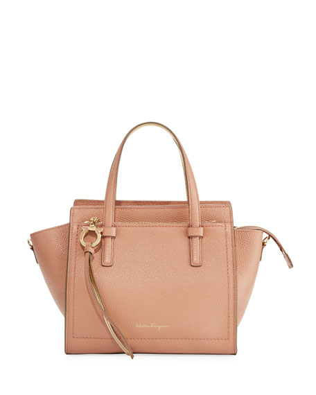 Amy Small Bicolor Leather Satchel Bag in New Blush/Mekong