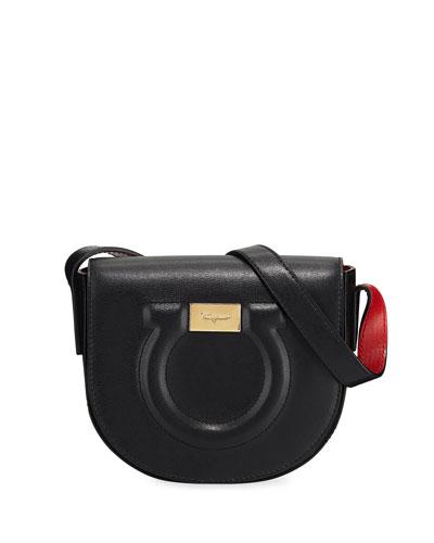Gancio City Crossbody Bag, Nero