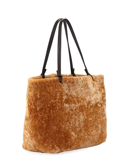 Park Shearling and Leather Tote Bag