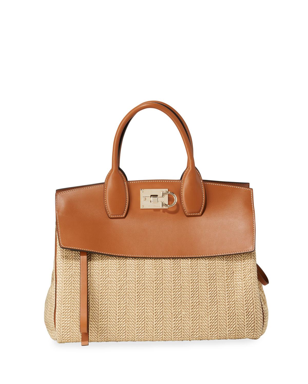 2b9d10285c1b Salvatore Ferragamo The Studio Medium Leather Raffia Satchel Bag ...