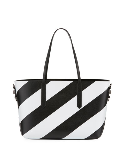 Medium Diagonal Striped Leather Tote Bag