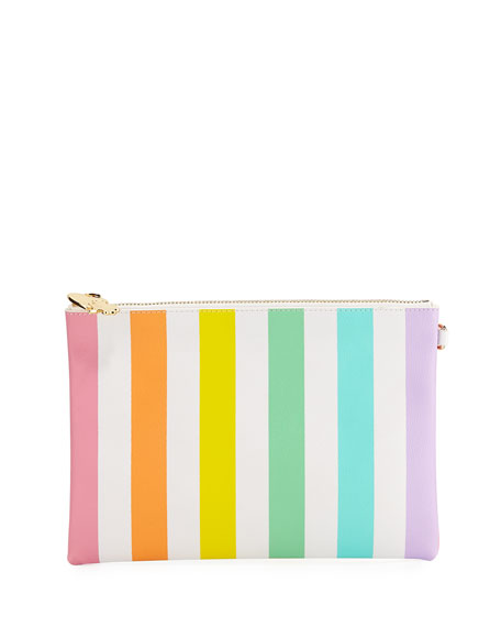 Small Rainbow Striped Flat Pouch