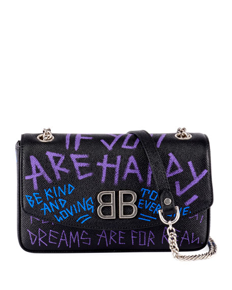 Balenciaga BB 'If you are happy' Graffiti Leather