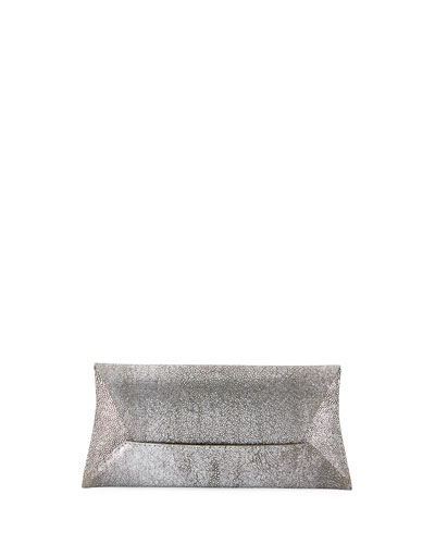 Manila Stretch Stingray Clutch Bag, Silver Leaf