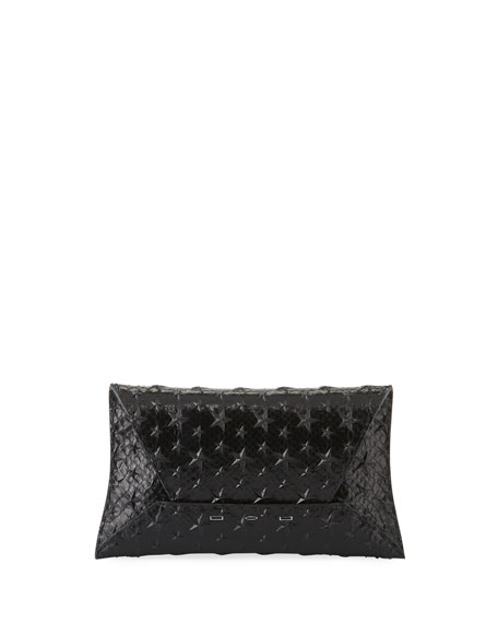 Manila Gt Python Clutch Bag With Stars in Black