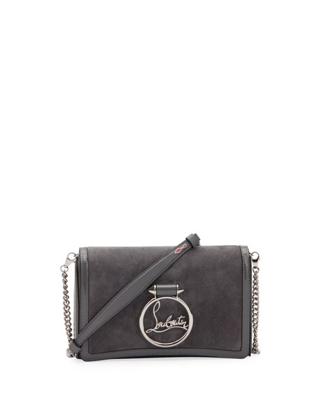 Christian Louboutin Rubylou Empire Suede Clutch Bag