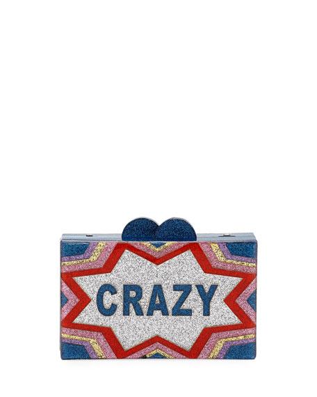 Bari Lynn GIRLS' CRAZY/COOL GLITTERED ACRYLIC BOX CLUTCH BAG