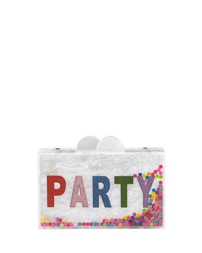 Girls' Confetti Party Glittered Acrylic Box Clutch Bag