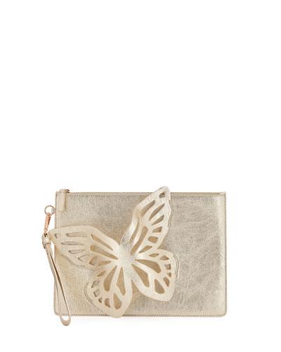 Flossy Butterfly Metallic Leather Pochette Clutch Bag