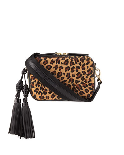 Sophie Leopard-Print Calf Fur and Snakeskin Camera Bag