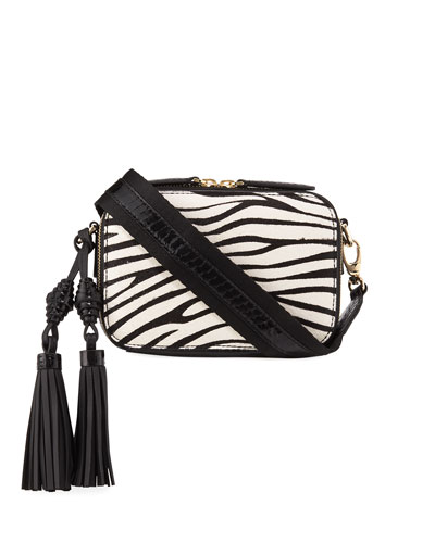 Sophie Snakeskin & Zebra Calf-Hair Crossbody Camera Bag