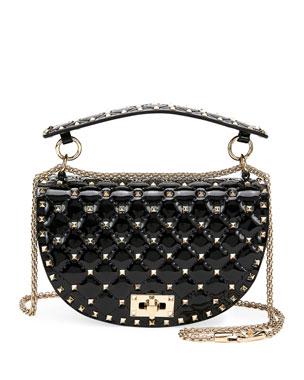 0434d445e5b Valentino Garavani Rockstud Spike Quilted Patent Saddle Shoulder Bag