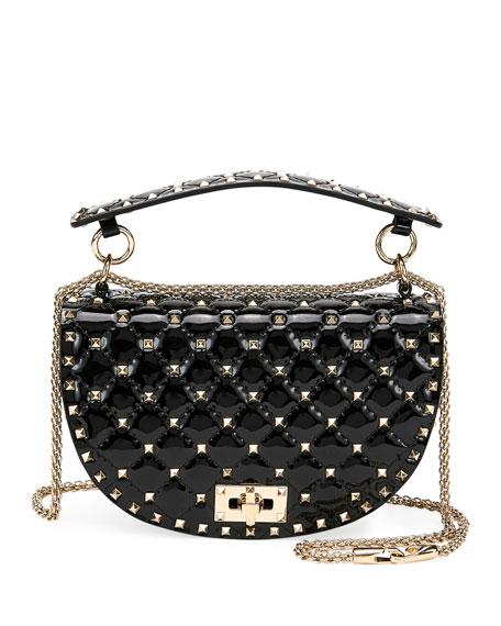 Valentino Rockstud Spike Quilted Patent Saddle Shoulder Bag In Black ebaef3f287