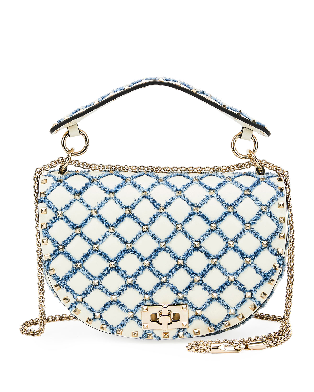 c242874ecc94 Valentino Garavani Rockstud Spike Leather and Denim Shoulder Bag ...