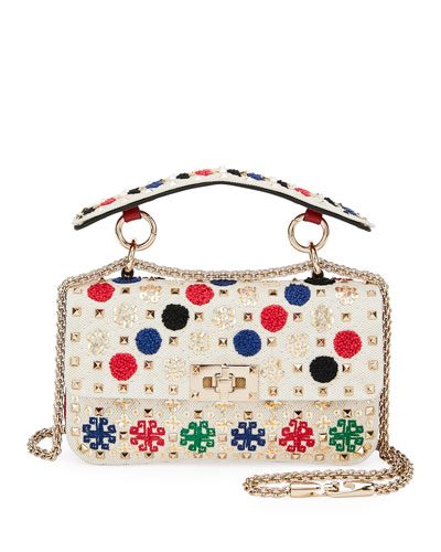 Spike.It Small Embroidered Canvas/Leather Shoulder Bag