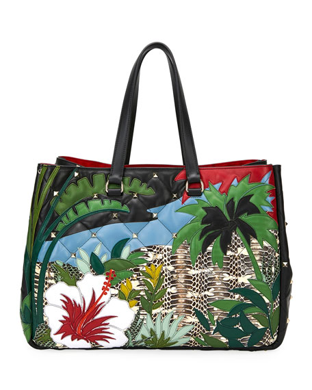 Valentino Leathers BOOMSTUD TROPICAL LEATHER & SNAKESKIN TOTE BAG
