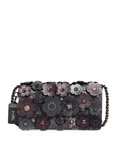 Dinky Metallic Crystal Tea Rose Shoulder Bag