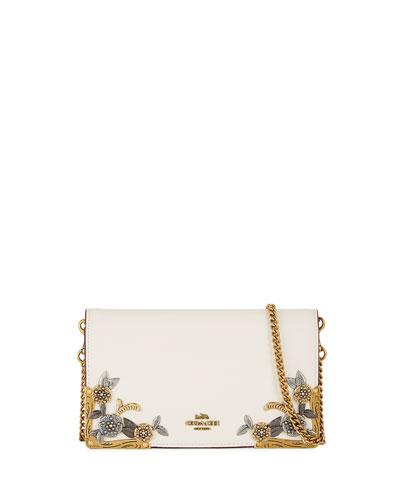 Metal Tea Rose Fold-Over Chain Clutch Bag