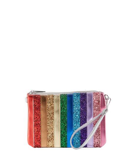 Bari Lynn GIRLS' RAINBOW STRIPE SPARKLE CLUTCH BAG