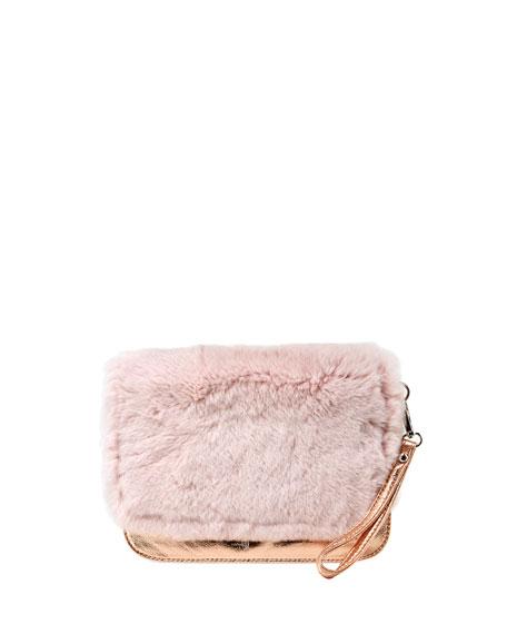 Bari Lynn Girls' Fur Clutch Bag, Pink