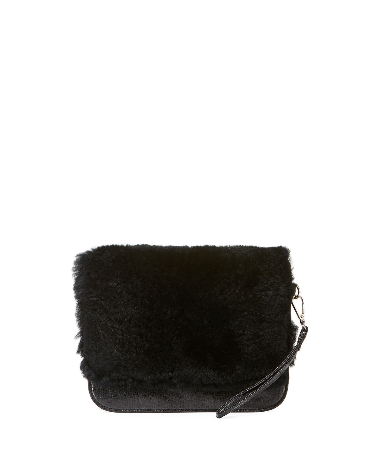 S Fur Clutch Bag Black