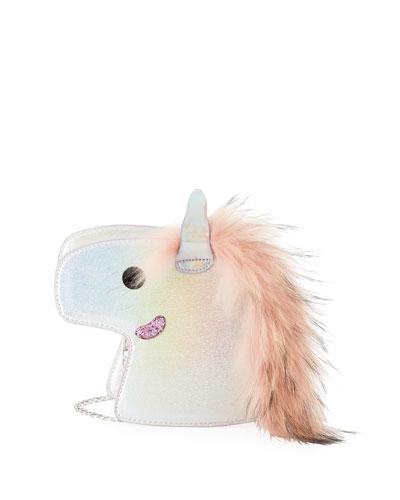 Girls' Iridescent Unicorn Clutch Bag w/ Fur Mane