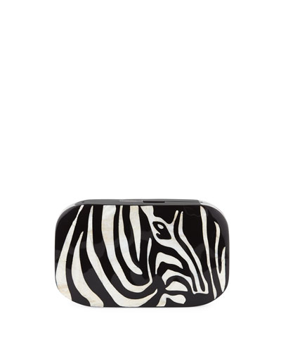 Kiki Zebra Shell Minaudiere Clutch Bag