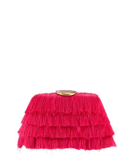 Rafe AMANDA FRINGE CLUTCH BAG WITH AGATE CLASP