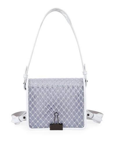 PVC Net Flap Crossbody Bag, White
