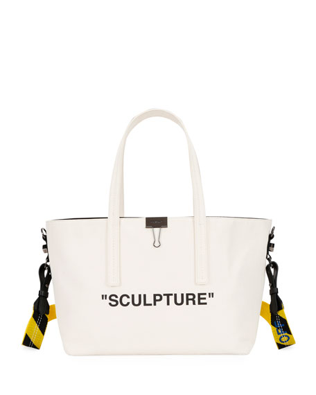 Canvas Sculpture Shopper Tote Bag in Beige