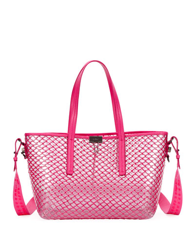 PVC Net Shopper Tote Bag  Fuchsia