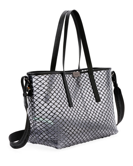 PVC Net Shopper Tote Bag, Black