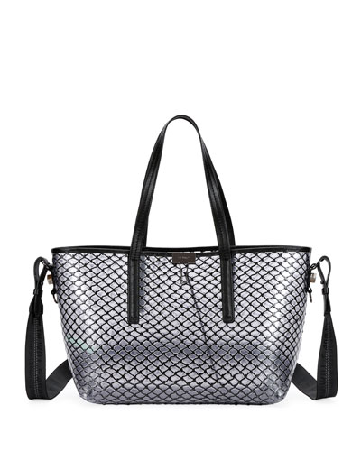 PVC Net Shopper Tote Bag  Black