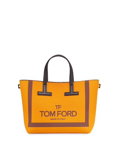 Printed Canvas and Leather T Tote Bag