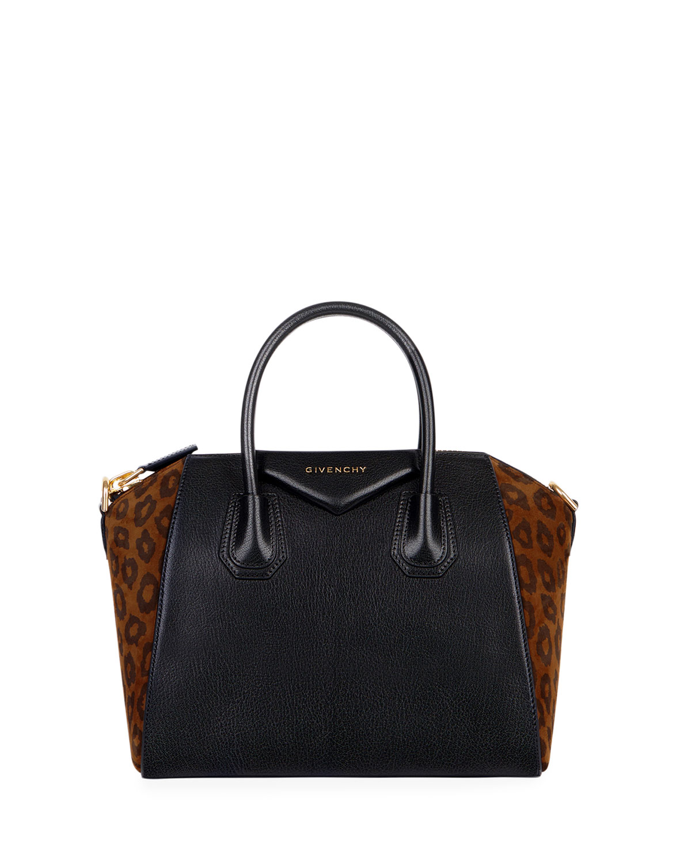 45926a5a35 Givenchy Antigona Small Leopard Satchel Bag