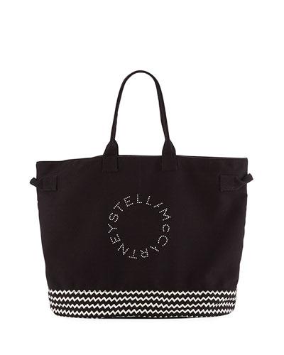 Striped Logo Beach Tote Bag