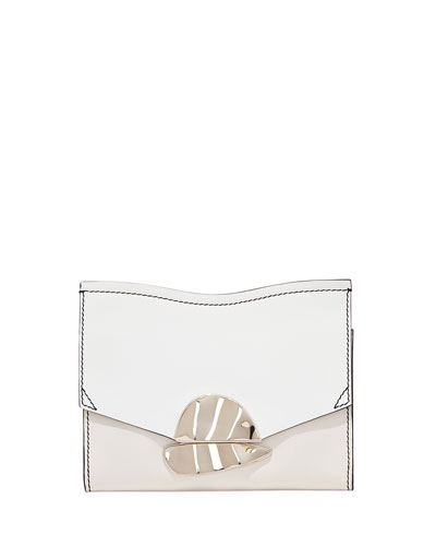 Curl Small Chain Smooth Leather Clutch Bag