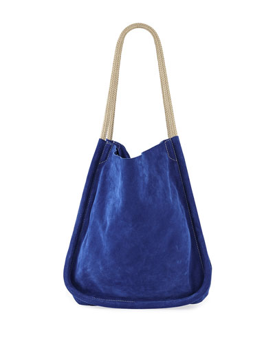 Extra Large Suede Tote Bag with Rope Handles