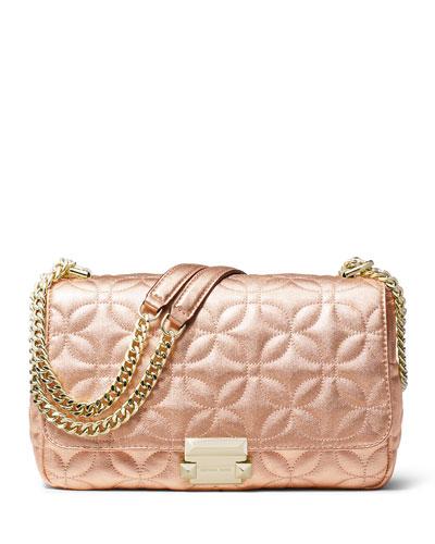 Sloan Large Metallic Leather Chain Shoulder Bag