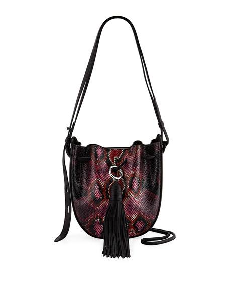 Rebecca Minkoff Lulu Snake-Print Leather Tassel Crossbody Bag