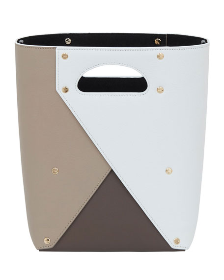 Pablo Colorblock Leather Tote Bag in White/Brown