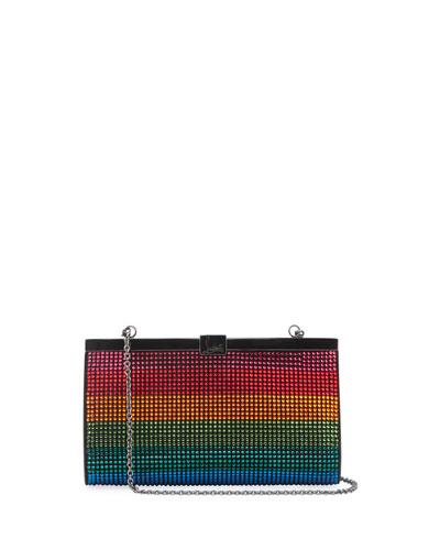Palmette Small Rainbow Crystal Suede Clutch Bag