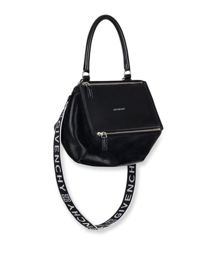 Givenchy Pandora Small Smooth Leather Crossbody Bag With Logo Web Strap