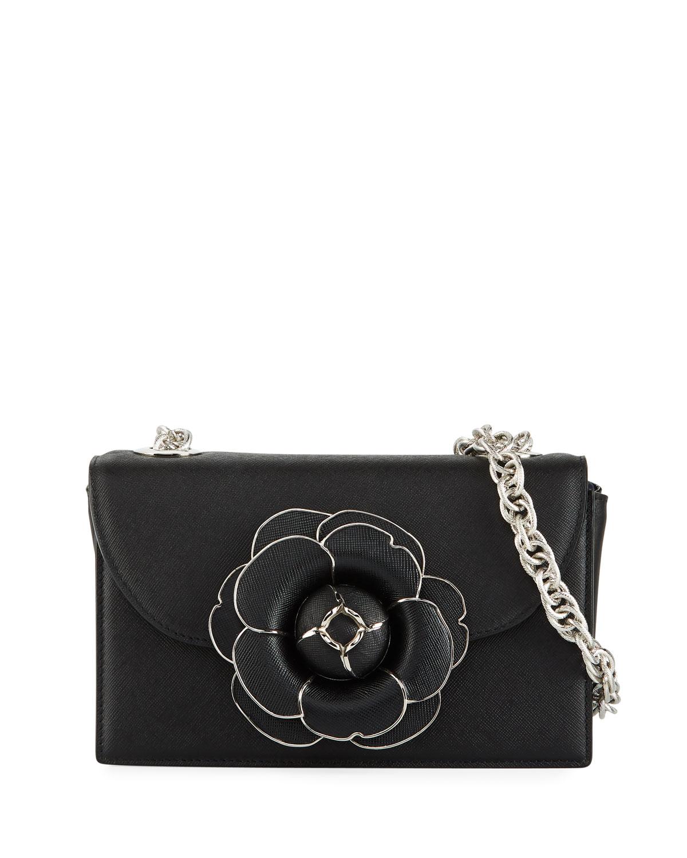 08f2b3d9e27f Oscar de la Renta Tro Flower Leather Crossbody Bag - Silver Hardware ...